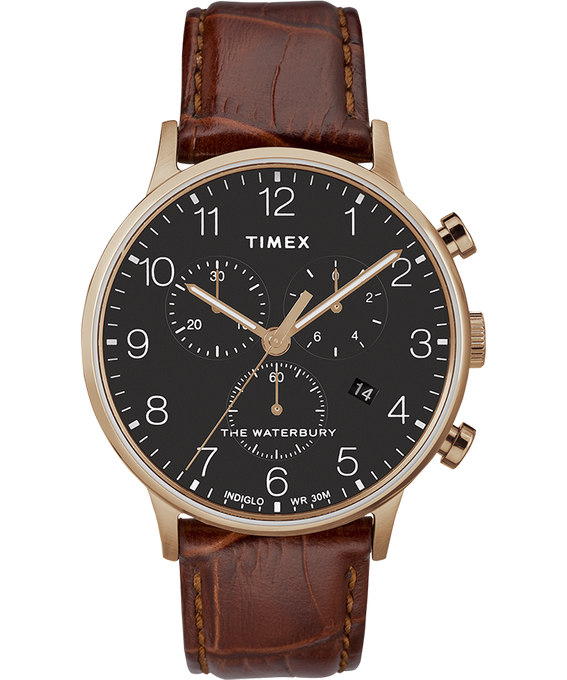 Waterbury 40mm Classic Chrono Leather Strap Watch