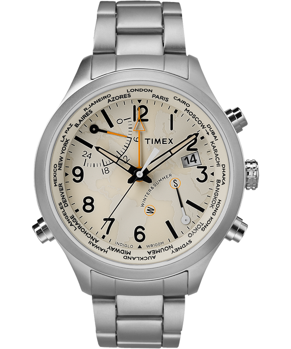Waterbury World Time 43mm Stainless Steel Watch