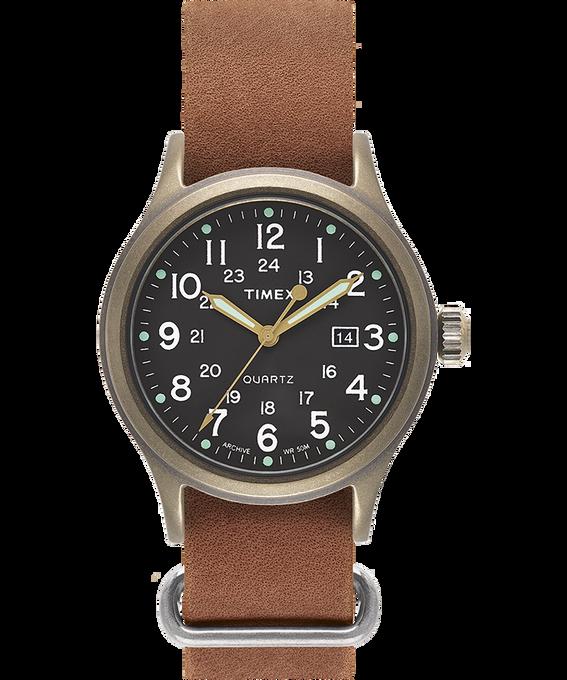 Zegarek Allied z kopertą 40 mm i skórzanym dekatyzowanym paskiem