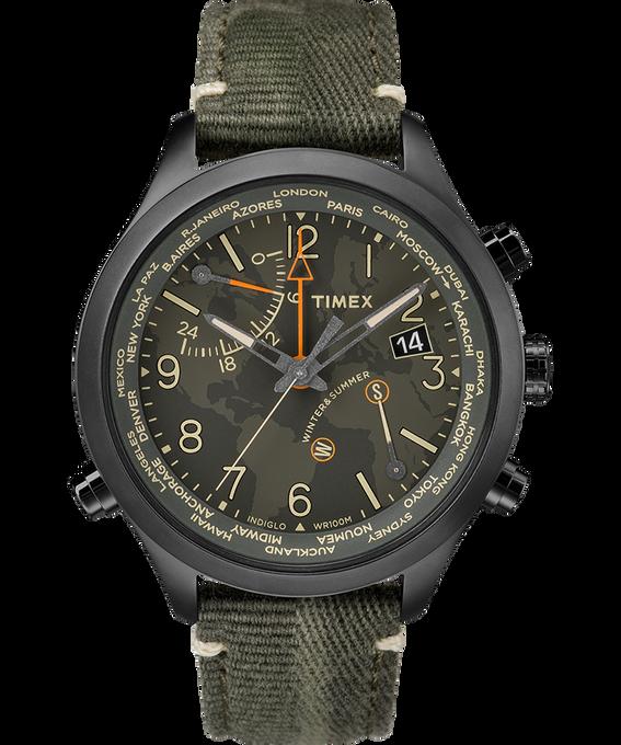 Waterbury World Time 43mm Fabric Strap Watch