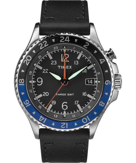 Allied Three GMT 43mm Leather Watch