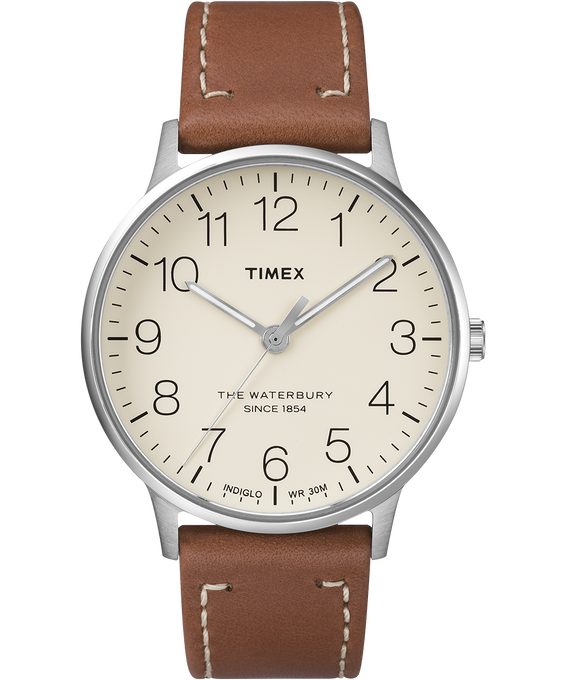 Waterbury 40mm Classic Leather Strap Watch