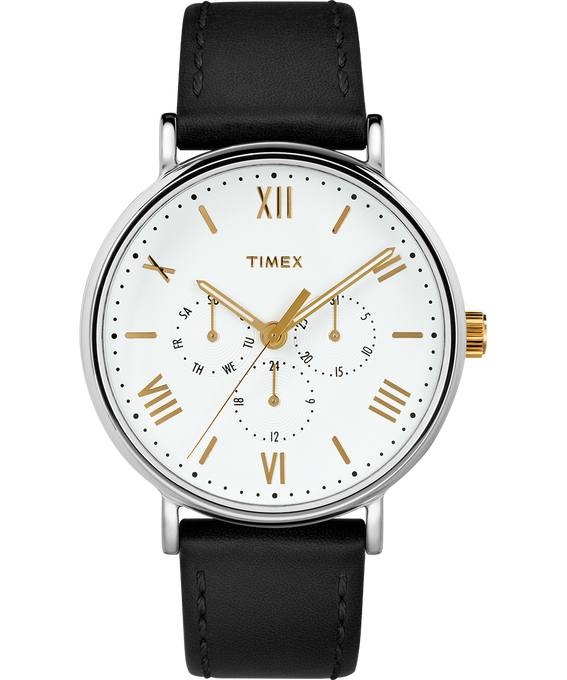 Southview 41mm Chronograph with Leather Strap Chrome/Black/White/Gold-Tone large