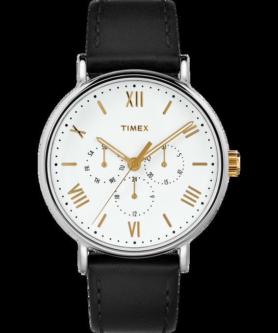 Zegarek Southview 41 mm z chronografem i paskiem skórzanym Chromowany/Czarny/Biały/W kolorze złota large