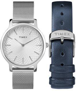 Zegarek Metropolitan z kopertą 34 mm, siatkową bransoletą i dodatkowym paskiem w zestawie prezentowym Srebrny large