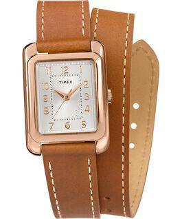 Zegarek Addison Double-Wrap 25 mm z paskiem skórzanym Różowe złoto/Jasnobrązowy/Srebrny large