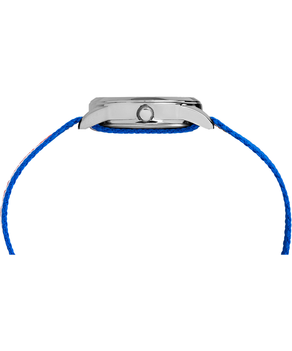 Dziecięcy zegarek analogowy z kopertą 30 mm i nylonowym paskiem  Silver-Tone/Blue large