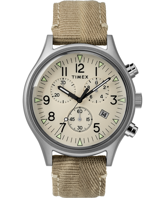 MK1 Chronograph Steel 42mm Fabric Strap Watch Stainless-Steel/Tan/Natural large