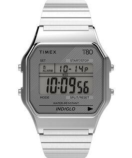 Zegarek Timex T80 34 mm z elastyczną bransoletą ze stali  Srebrny large