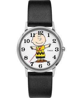 Zegarek Timex x Peanuts wyłącznie dla Todda Snydera przedstawiający Charliego Browna z 34 mm kopertą i skórzanym paskiem Stalowy/Czarny/Szary large