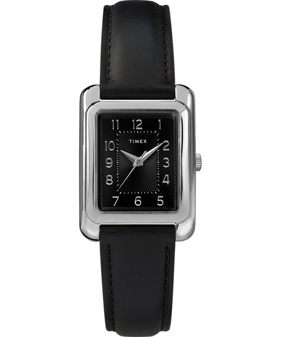 Zegarek Meriden 25 mm ze skórzanym paskiem Chromowy/Czarny large