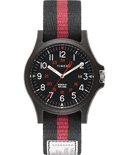 Zegarek Acadia z kopertą 40 mm i paskiem materiałowym Czarny large