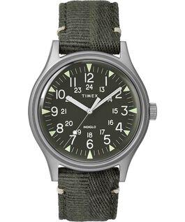 Zegarek MK1 ze stalową kopertą 40 mm i paskiem materiałowym Stalalowy/Zielony large
