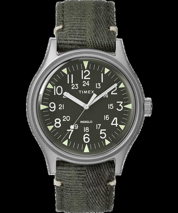 Zegarek MK1 ze stalową kopertą 40 mm i paskiem materiałowym Stal nierdzewna/Zielony large