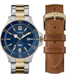 Zegarek Harboside z kopertą 43 mm, bransoletą i dodatkowym paskiem w zestawie prezentowym Bicolor/Niebieski large