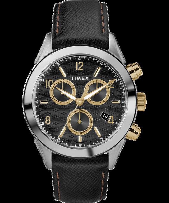 Zegarek męski Torrington Chronograph z kopertą 40 mm i skórzanym paskiem Stal nierdzewna/Czarny/W kolorze złota large
