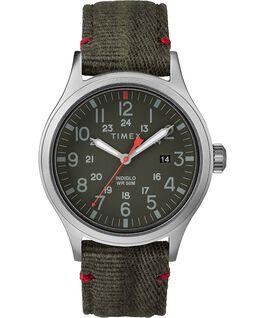 Zegarek Allied z kopertą 40 mm i paskiem materiałowym Silver-Tone/Green large