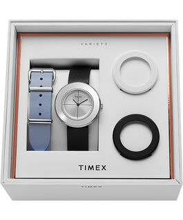 Variety 34mm Leather Strap Watch Box Set Silver-Tone/Black large