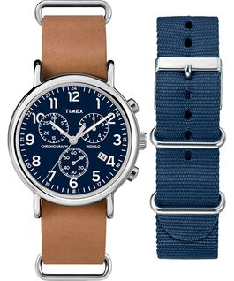 Weekender Chronograph Gift Set Silver-Tone/Tan/Blue large