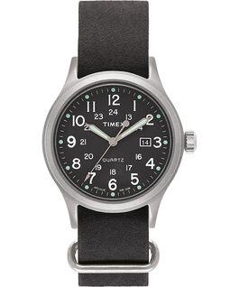 Zegarek Allied z kopertą 40 mm i skórzanym dekatyzowanym paskiem Srebrny/Czarny/Zielony large