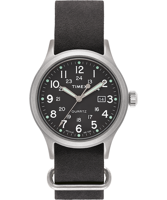 Allied 40mm Stonewashed Leather Strap Watch Silver-Tone/Black/Green large