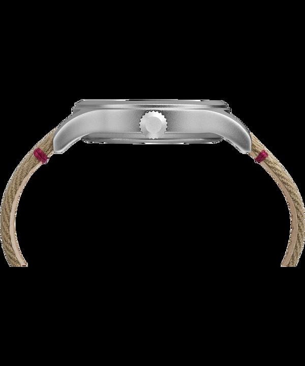 Zegarek Allied z kopertą 40 mm i paskiem materiałowym Silver-Tone/Tan/Natural large