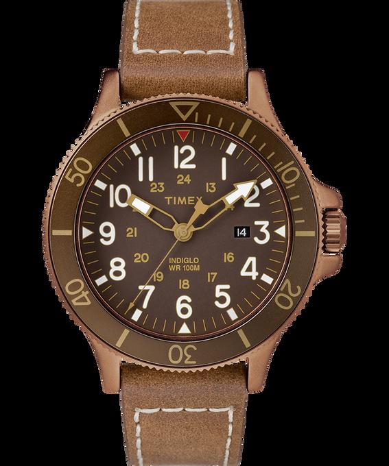 Zegarek Allied Coastline z kopertą 43 mm i skórzanym paskiem Bronze-Tone/Brown large