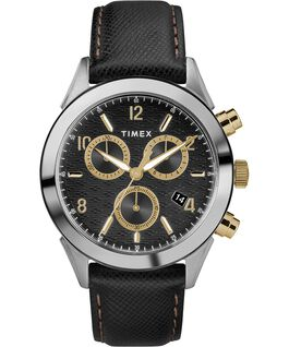 Zegarek męski Torrington Chronograph z kopertą 40 mm i skórzanym paskiem Stal nierdzewna/Czarny/Złoty large