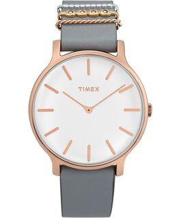 Zegarek Transcend z kopertą 38 mm i dodatkowym skórzanym paskiem Różowe złoto/Szary/Biały large