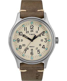 Zegarek MK1 ze stalową kopertą 40 mm i skórzanym paskiem Srebrny/Brązowy/Naturalny large