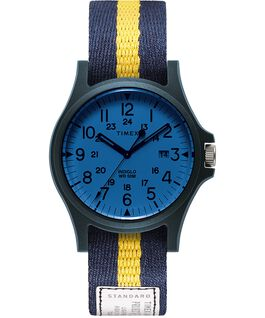 Zegarek Acadia z kopertą 40 mm i paskiem materiałowym Niebieski/Biały/Niebieski large