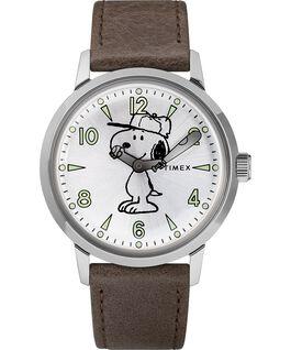 Welton z motywem Snoopy'ego z kopertą 40 mm i skórzanym paskiem Stal nierdzewna/Brązowy/Srebrny large