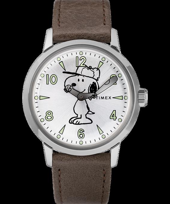 Welton z motywem Snoopy'ego z kopertą 40 mm i skórzanym paskiem Stal nierdzewna/Brązowy/W kolorze srebra large