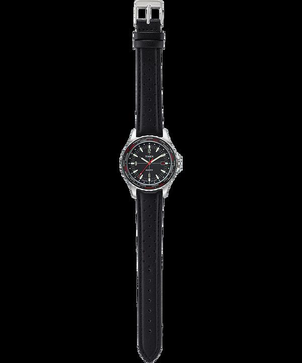 Zegarek Navi World Time 38 mm z paskiem skórzanym Stal nierdzewna/Czarny large