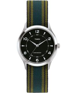 Zegarek Whitney Village z kopertą 38 mm, paskiem z grogramu i czarną tarczą Stal nierdzewna/Czarny large
