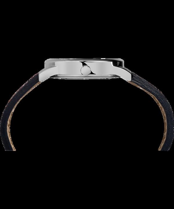 Zegarek Easy Reader z datownikiem, kopertą 35 mm i skórzanym paskiem Silver-Tone/Brown/White large