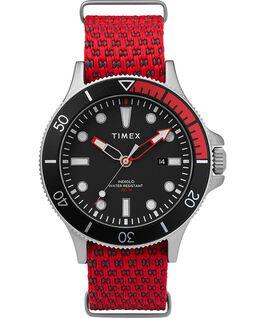 Zegarek Allied Coastline z kopertą 43 mm, obrotowym pierścieniem i materiałowym paskiem Silver-Tone/Red/Black large