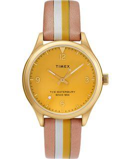 Zegarek damski Waterbury Traditional z kopertą 34 mm i skórzanym, prążkowanym paskiem Złoty/Jasnobrązowy/Żółty large