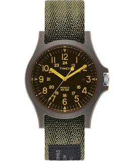 Zegarek Acadia 40 mm z paskiem materiałowym i kolorowym szkiełkiem Zielony/Czarny large