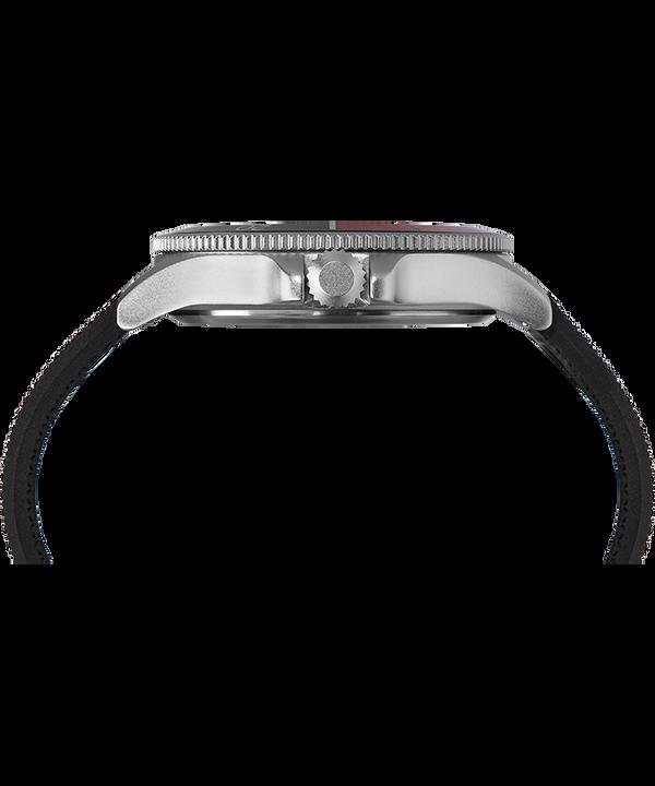 Zegarek Allied Coastline z kopertą 43 mm i silikonowym paskiem Srebrny/Czarny large
