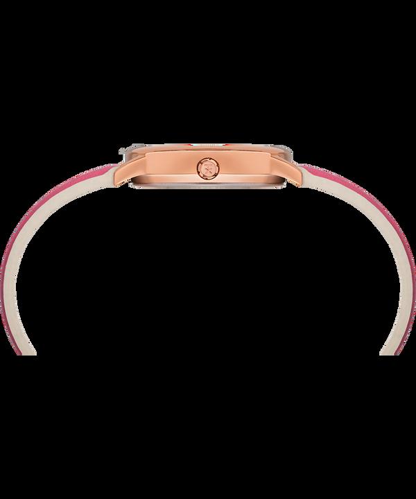 Zegarek Easy Reader Color Pop z kopertą 30 mm i skórzanym paskiem W kolorze różowego złota/Różowy/Biały large