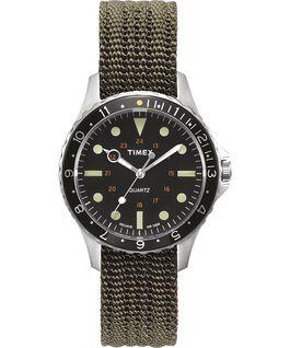 Zegarek Navi Harbor z kopertą 38 mm i materiałowym paskiem Oliwkowy/Oliwkowy large