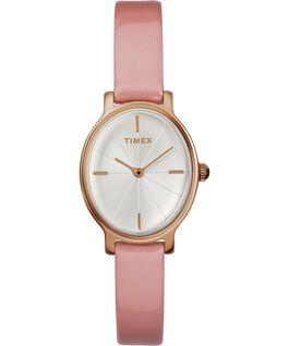 Zegarek Milano Oval z kopertą 24 mm i paskiem z lakierowanej skóry Różowe złoto/Różowy/Srebrny large