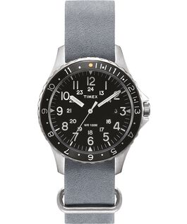 Zegarek Navi Ocean z kopertą 38 mm i dekatyzowanym paskiem skórzanym Stalowy/Szary/Czarny large