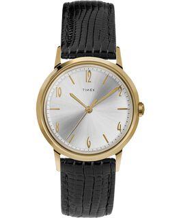 Zegarek Marlin z kopertą 34 mm i skórzanym paskiem, ręcznie nakręcany Black/Gold-Tone large