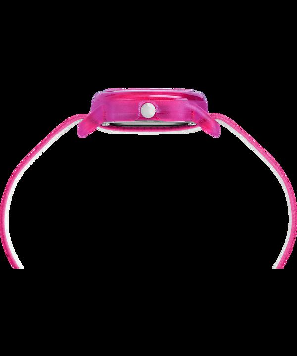 Dziecięcy zegarek analogowy z kopertą 28 mm i paskiem z elastycznego materiału Pink/White large