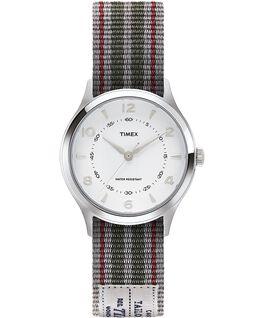 Zegarek Whitney Village z kopertą 36 mm i dwustronnym paskiem z grogramu-1 Stal nierdzewna/Biały large