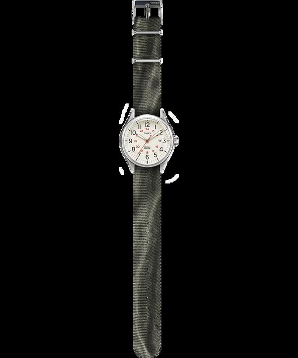 Zegarek Waterbury United z kopertą 38 mm i paskiem z dekatyzowanego materiału W kolorze srebra/Zielony/Naturalny large