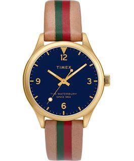 Zegarek damski Waterbury Traditional z kopertą 34 mm i skórzanym, prążkowanym paskiem Złoty/Jasnobrązowy/Niebieski large