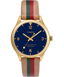 Waterbury Traditional Womens 34mm Leather Strap Watch with Stripe Gold-Tone/Tan/Blue large